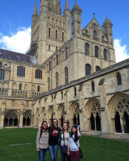 Some friends and I in front of Norwich Cathedral!
