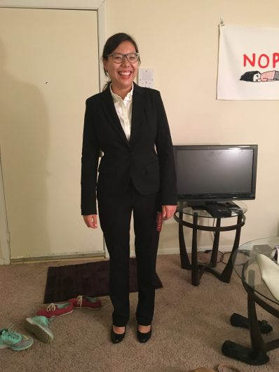 When I tried on my suit, I had my roommate take a picture to send to my mom.
