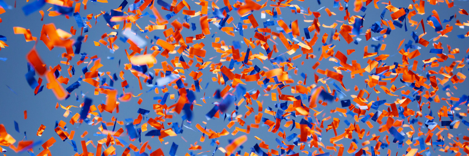 orange & blue confetti