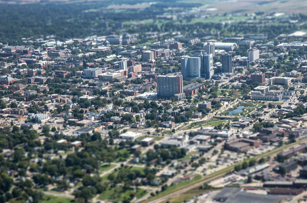 aerial view of Champaign-Urbana