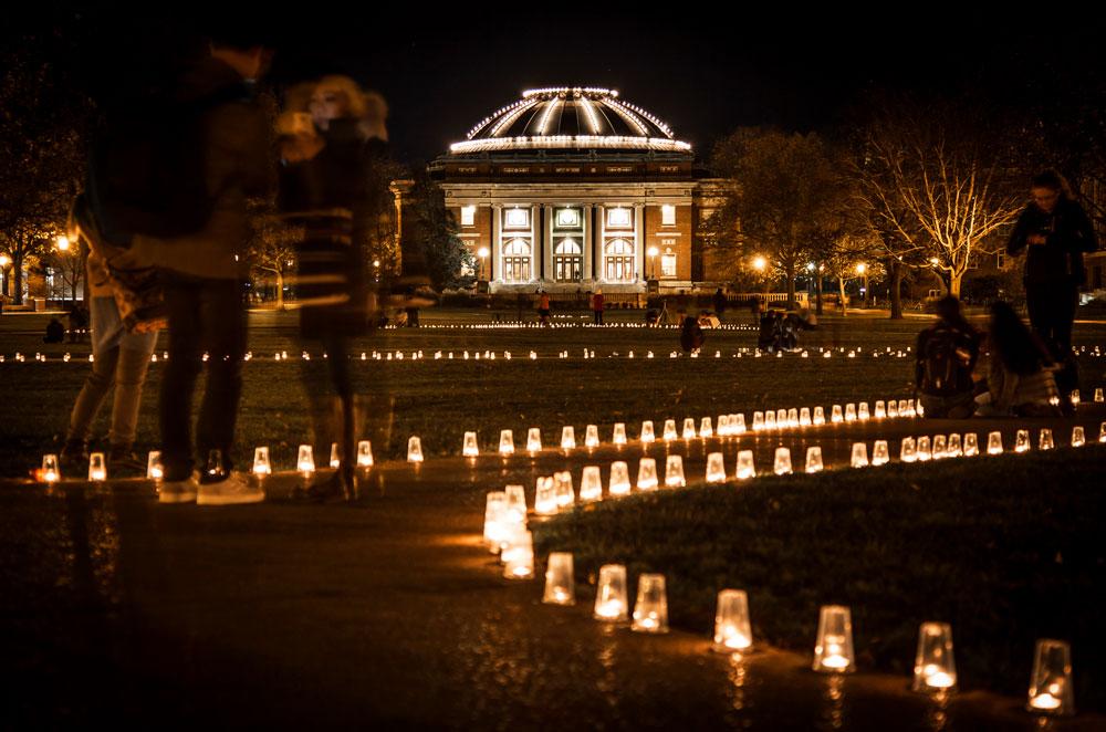 Foellinger Auditorium lit up during Diwali