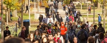 Students walking on quad