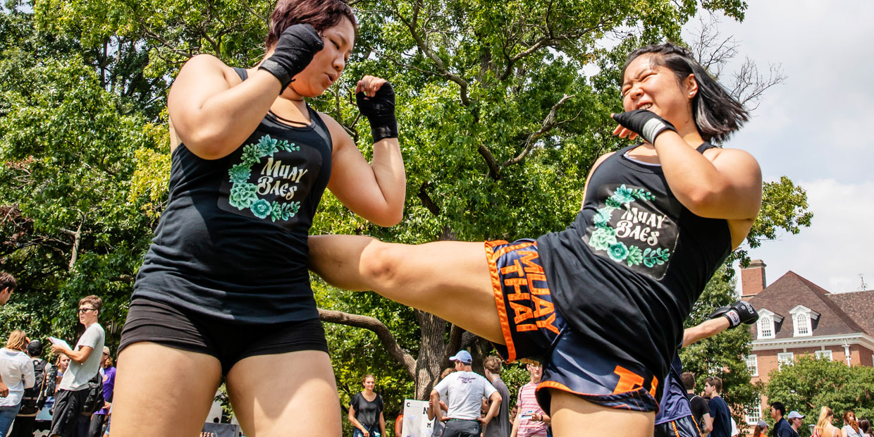 Muy Thai RSO members sparring on Quad Day