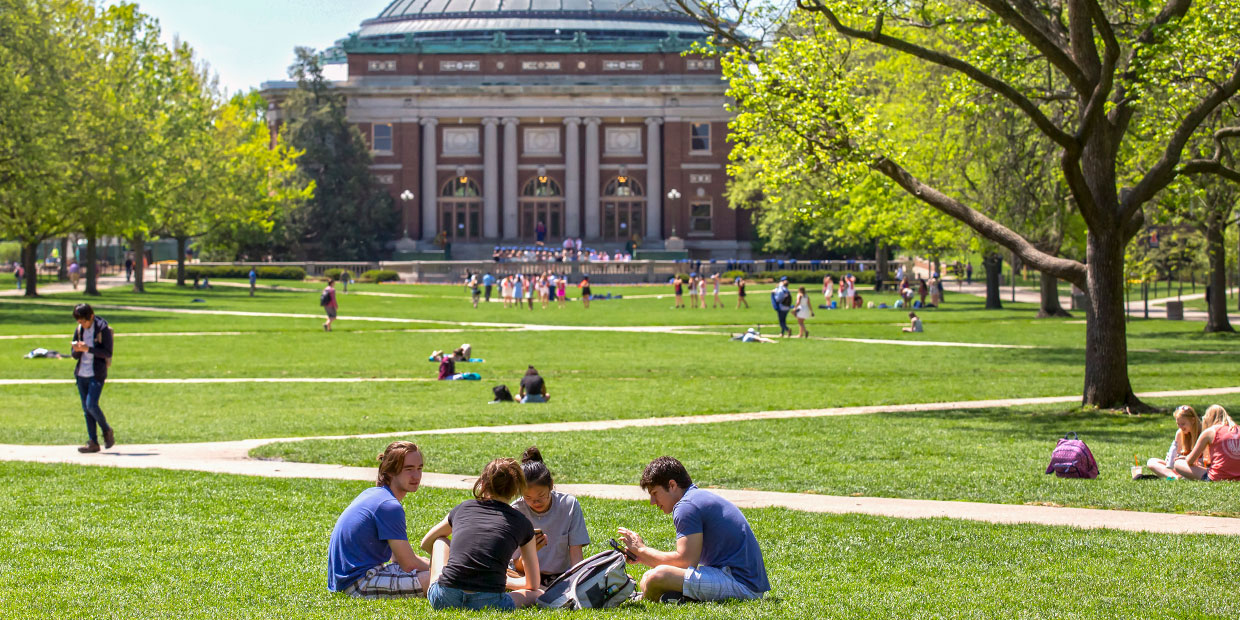 the Quad filled with students in late spring