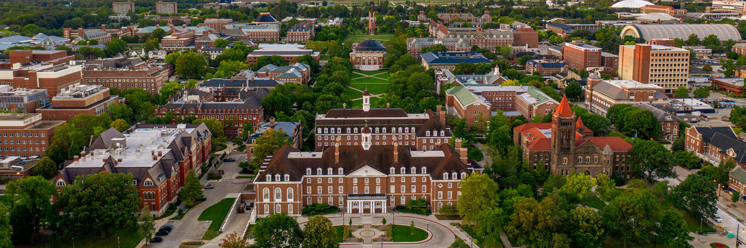 drone view of the center of Illinois' campus