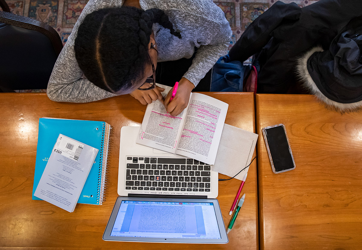 female student studying in the Illini Union