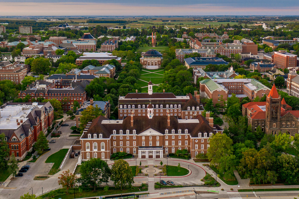 aerial shot of Illinois' campus in the summer