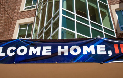 """""""Welcome Home, Illini!"""" banner welcoming new students"""