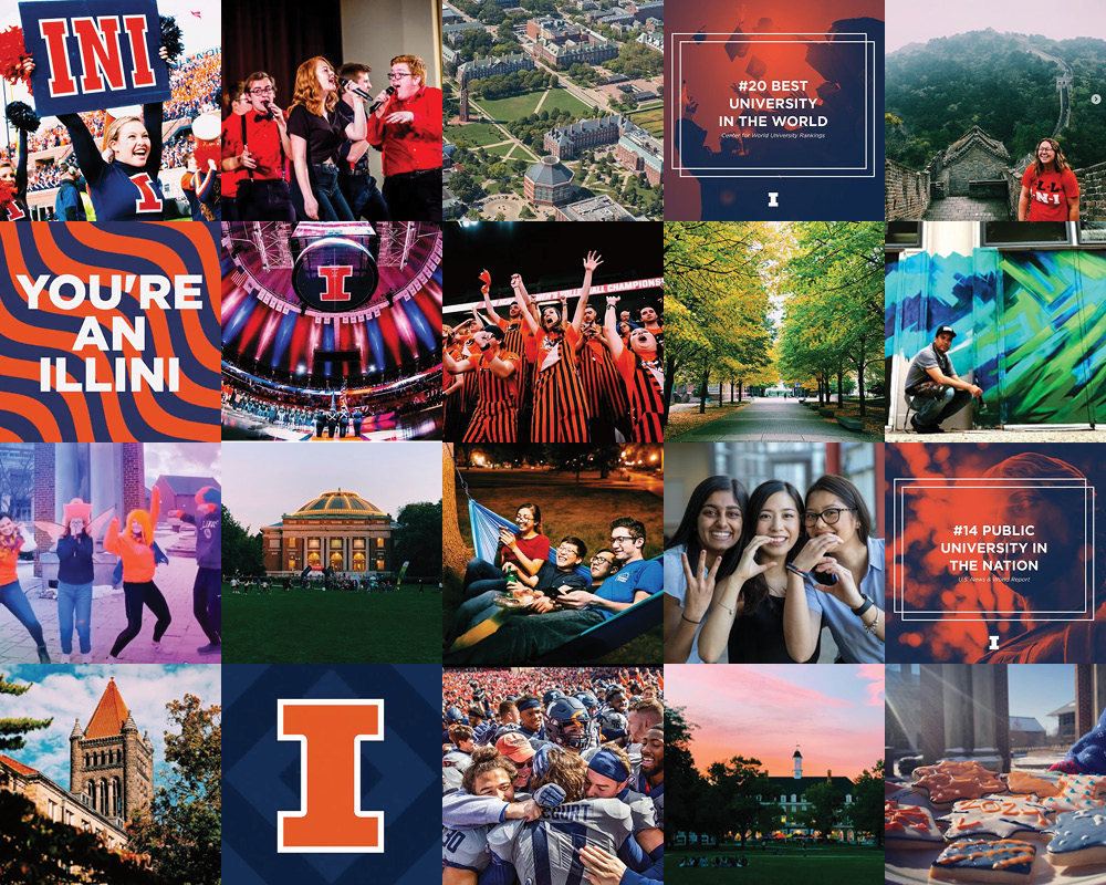 collaged grid of images from Undergraduate Admissions' Instagram account, illiniview
