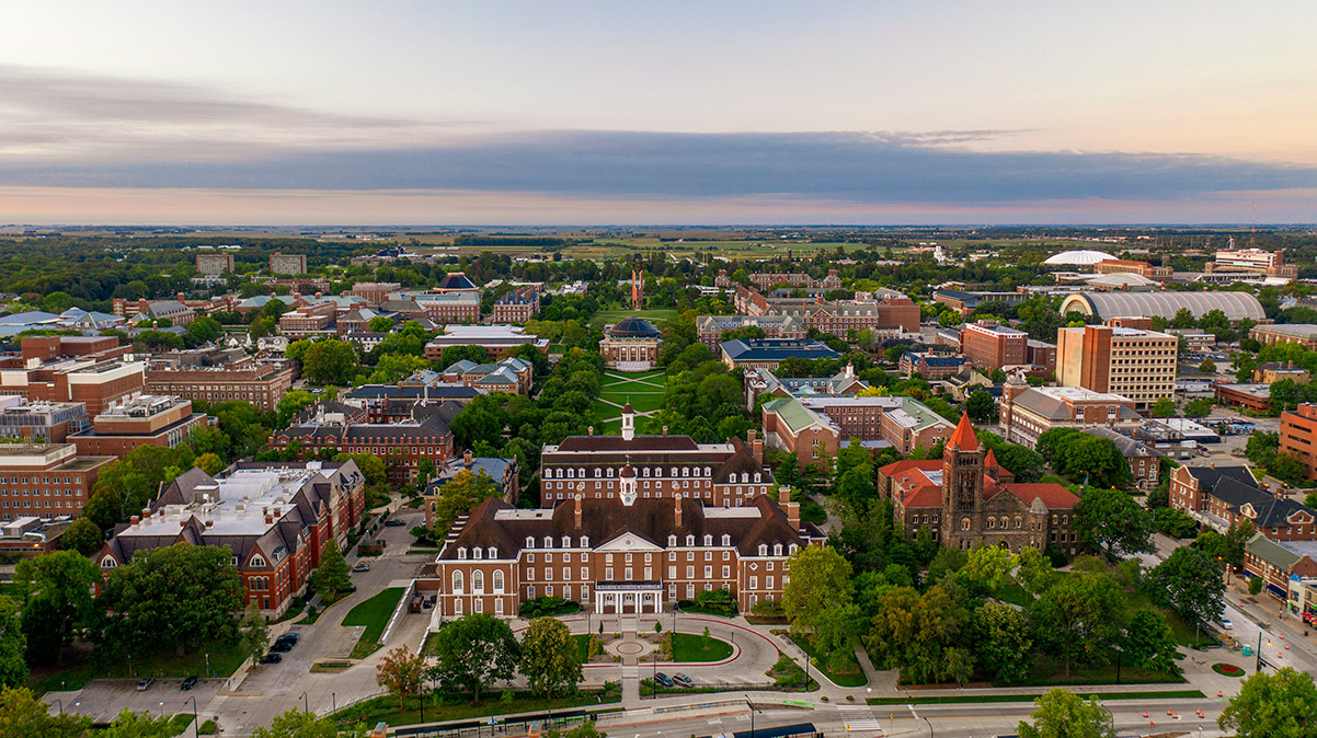 aerial view of the heart of UIUC's campustown